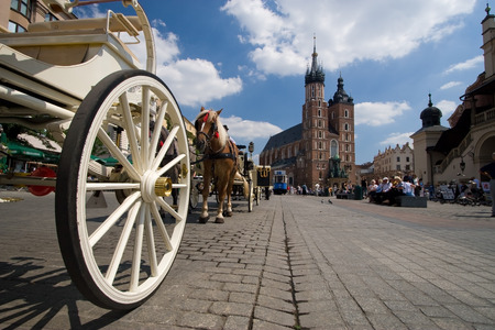 cracow: Beautiful summer view of Mariacki Church in Cracow, Poland