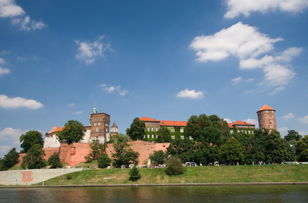 cracow: Beautiful summer view of medieval wawel castle in Cracow, Poland