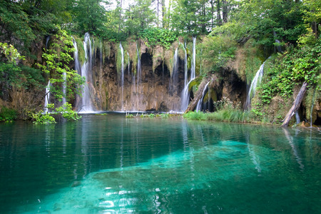 Waterfalls and lake in Plitvice Lakes National Park