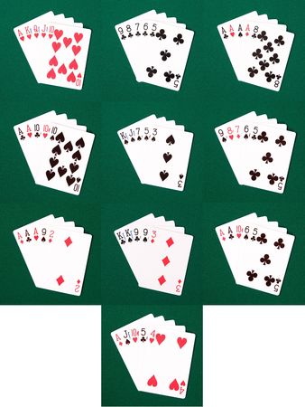 4 of a kind: The various poker hands ranging from royal flush to a high card on green linen Stock Photo