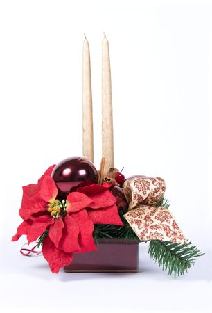 Christmas table decoration with candles and poinsettia series photo