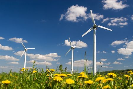 Wind Farm against blue sky with white clouds and yellow flowers on the ground