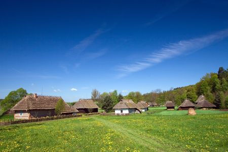 Very old Polish village with many wooden houses