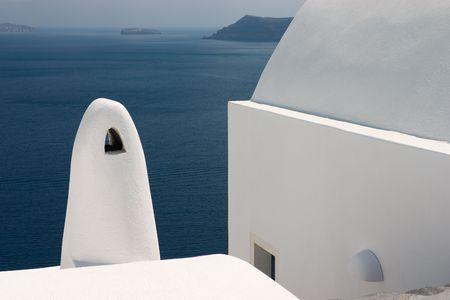 aegean: Greek architecture on beautiful island Santorini Stock Photo