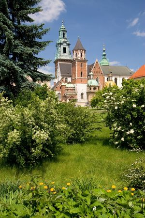 Beautiful spring view of Wawel Castle in Cracow, Poland Standard-Bild