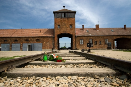 Main entrance to Auschwitz Birkenau Concentration Camp Stock Photo