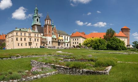 Beautiful panoramic view of Wawel Castle in Krakow, Poland