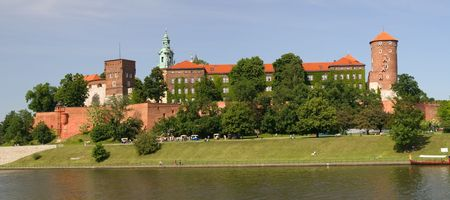cracow: Panoramic view of Wawel Castle in Cracow, Poland Stock Photo