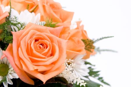 Beautiful  decoration with orange roses Standard-Bild