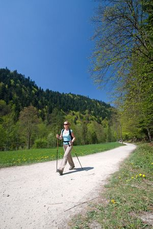 Young woman is hiking in Pieniny, Slovakia