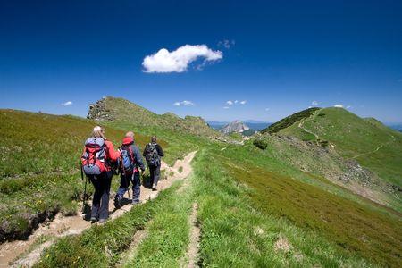 Groep vrienden wandelen in Mala Fatra in Slowakije Stockfoto