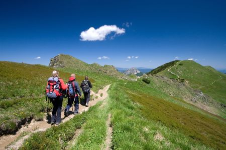 Group of friends hiking in Mala Fatra in Slovakia Stock Photo