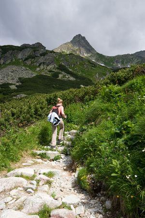 Trekking in Tatra Mountains. Trail to Rysy peak