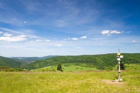 Summer landscape from Wysokie peak in Beskid Niski, Poland Stock Photo