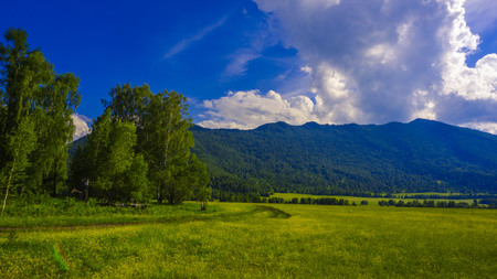 Mountains and clouds. Mountain Altai Imagens