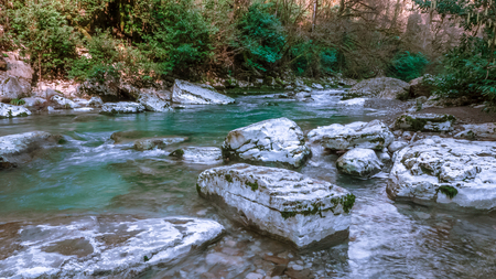 Beautiful river in Caucasus mountains