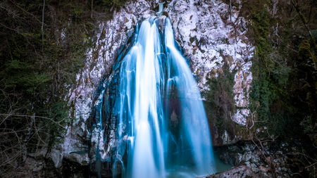 Fabulous waterfall in the Caucasus mountains