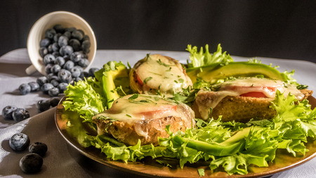 Sandwiches with avocado tomatoes and cheese on a salad plate and blueberries .. Stockfoto