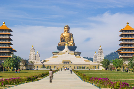 buddhism prayer belief: The giant Buddha statue at Fo Guang Shan in Kaohsiung, Taiwan - 09012012