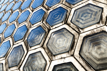glass brick: Pattern of grimy hexagonal glass brick Stock Photo