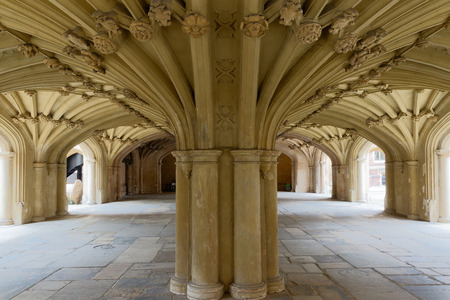 the vaulted: Architecture details - Lincolns Inn vaulted ceiling. The Honourable Society of Lincolns Inn is one of four Inns of Court in London to which barristers of England and Wales belong and where they are called to the Bar.