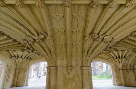 secret place: Architecture details - Lincolns Inn vaulted ceiling. The Honourable Society of Lincolns Inn is one of four Inns of Court in London to which barristers of England and Wales belong and where they are called to the Bar.
