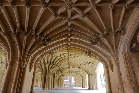 Architecture details - Lincolns Inn vaulted ceiling. The Honourable Society of Lincolns Inn is one of four Inns of Court in London to which barristers of England and Wales belong and where they are called to the Bar.