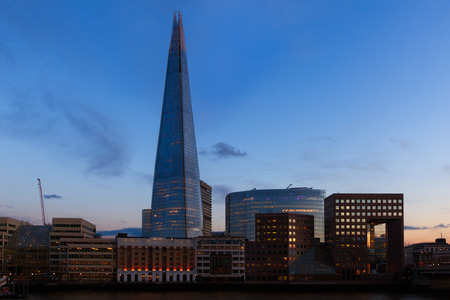 shard: Sunset on the London skyline showing The Shard and office buildings