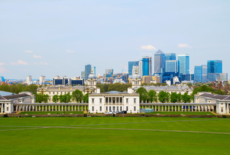 greenwich: Cityscape view from Greenwich hill of London, England, UK Stock Photo