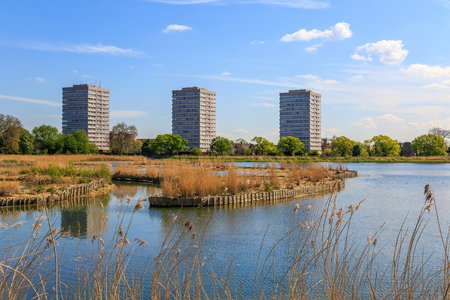 gentrification: Newly-opened Woodberry wetlands nature reserve at Woodberry Down in London on a sunny day