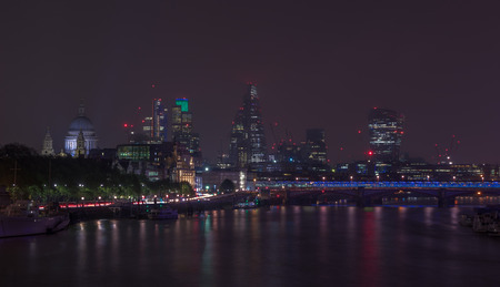 blackfriars bridge: London cityscape at night including St, Paul?s Cathedral and Blackfriars Bridge Stock Photo