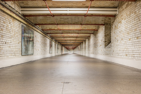 kensington: London, UK - May 18, 2016 - South Kensington pedestrian tunnel in London linking from station to museums