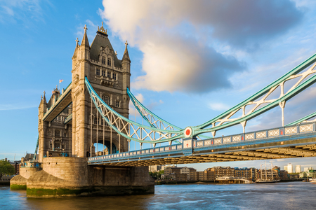 closer: Tower Bridge in London during sunset with a closer look at the suspender design Stock Photo