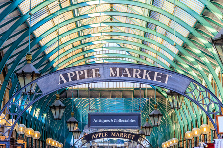 Apple Market Sign at Covent Garden, London. Apple Market is a popular destination for tourists and Londoners, where traders sell a variety of antiques, craft items and handmade clothing.