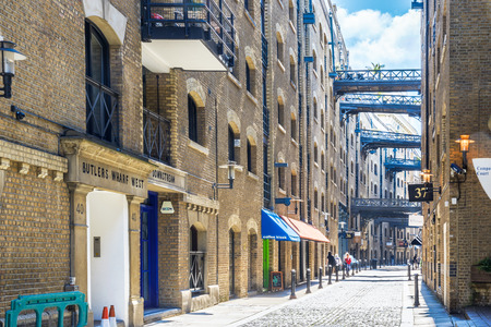 sightsee: London, UK - June 24, 2016 - Street view of Shad Thames, a historic riverside street next to Tower Bridge in Bermondsey