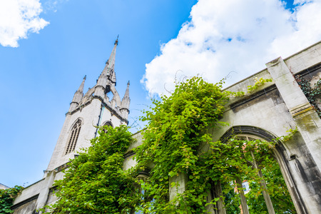 largely: St. Dunstan-in-the-East, a church was largely destroyed in the Second World War and the ruins are now a public garden in London