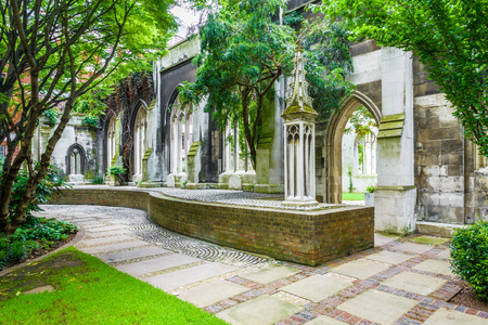 St. Dunstan-in-the-East, a church was largely destroyed in the Second World War and the ruins are now a public garden in London