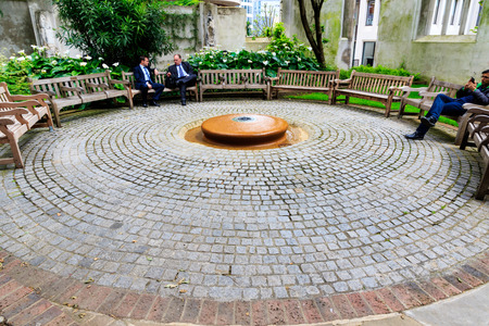 bombings: London, UK - June 17, 2016 - St. Dunstan-in-the-East, a church was largely destroyed in the Second World War and the ruins are now a public garden in London
