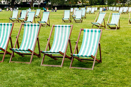 deck chairs: Green stripped deck chairs in Green Park, London