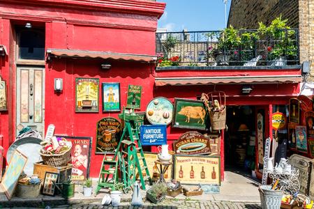 Antique shop at Portobello Road Market in Notting Hill, London