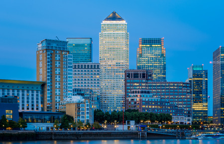 Canary Wharf, financial hub in London in the evening Stock Photo