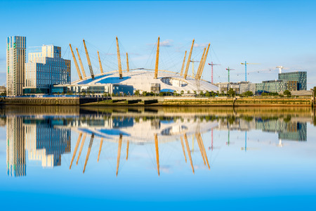 greenwich: London, UK - July 5, 2016 - View of river Thames, north Greenwich and O2 arena.