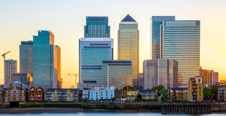 Canary Wharf, financial hub in London at sunset