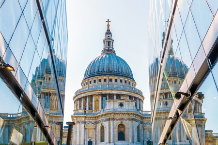 St Pauls Cathedral reflected in glass window of One New Change in London