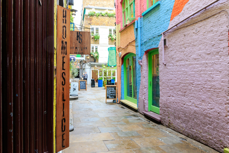 London, UK - August 2, 2016 - Neals Yard, a small alley in Covent Garden area