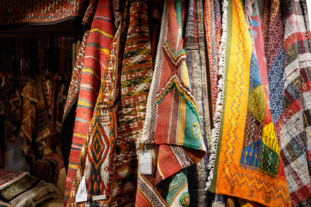 made in morocco: Oriental ornate rugs and carpets on display