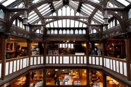west end: London, UK - August 2, 2016 - Liberty, a luxury department store in the West End of London