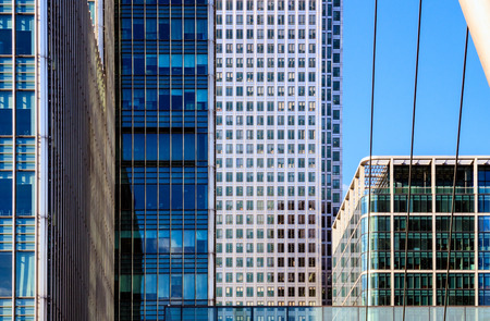 Office Buildings and South Quay footbridge in Canary Wharf, financial district of London