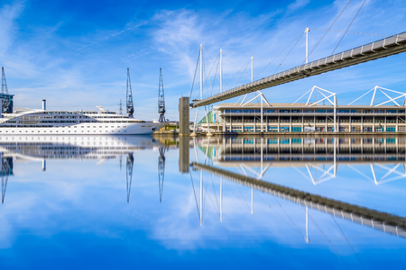 Royal Victoria Dock Bridge in London, UK Editorial
