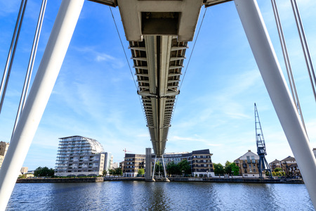 britannia: Royal Victoria Dock Bridge in London, UK Stock Photo